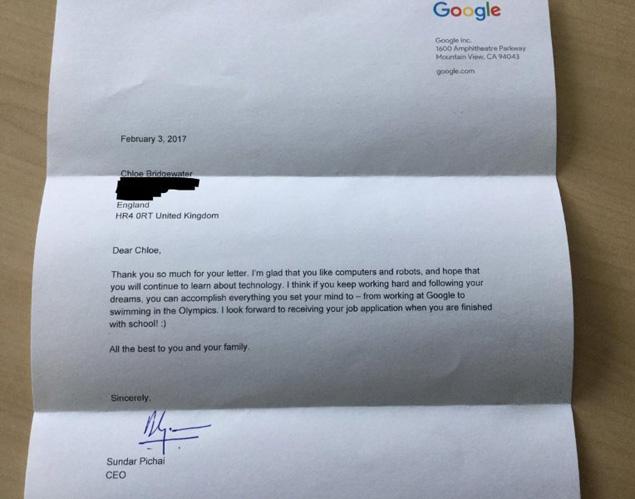 Reply by Google's CEO Sundar Pichai
